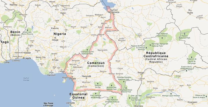 Cinq à sept ressortissants français ont été enlevés dans le nord du Cameroun, près de la frontière avec le Nigeria, mardi 19 février. (GOOGLEMAPS / FRANCETV INFO)