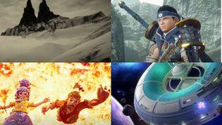 """De gauche à droite et de haut en bas, les jeux """"Mundaun"""", """"Hunter Monster : Rise"""", """"It Takes Two"""" et """"Spacebase Startopia"""". (FRANCEINFO)"""