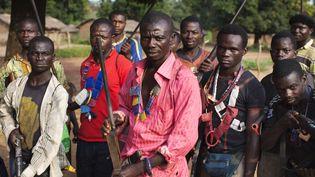 """Des miliciens """"anti-balaka"""" posent devant l'obejctif danslevillage de Mbakate en Centrafrique, el 25 novembre2013 (JOE PENNEY / REUTERS)"""