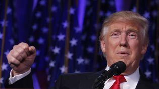 Elu président des Etats-Unis, Donald Trump exulte devant ses partisans réunis à New York, mercredi 9 novembre 2016. (CARLO ALLEGRI / REUTERS)