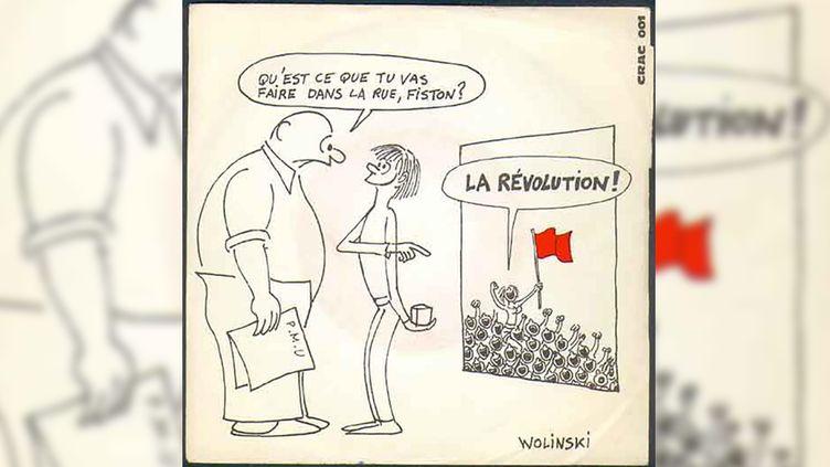 Le 45 tours autorpoduit de «La Révolution» d'Évariste, avec sa pochette dessinée par Wolinski.  (DR)
