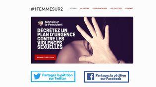 """La pétition demandant au chef de l'Etat de """"décreter un plan d'urgence contre les violences sexuelles"""" a été mise en ligne le 5 novembre 2017. (CAPTURE 1FEMMESSUR2)"""