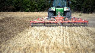 Un agriculteur travaille dans un champ àIlliers-Combray (Eure-et-Loir), le 25 août 2020. (JEAN-FRANCOIS MONIER / AFP)