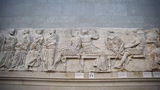 Les frises du Parthénon, exposées au British Museum à Londres (19 février 2018) (NICOLAS ECONOMOU / NURPHOTO / AFP)