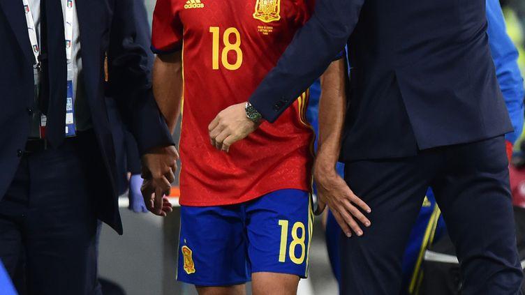 Jordi Alba, le latéral gauche de l'Espagne, s'est blessé contre l'Italie. (GIUSEPPE CACACE / AFP)
