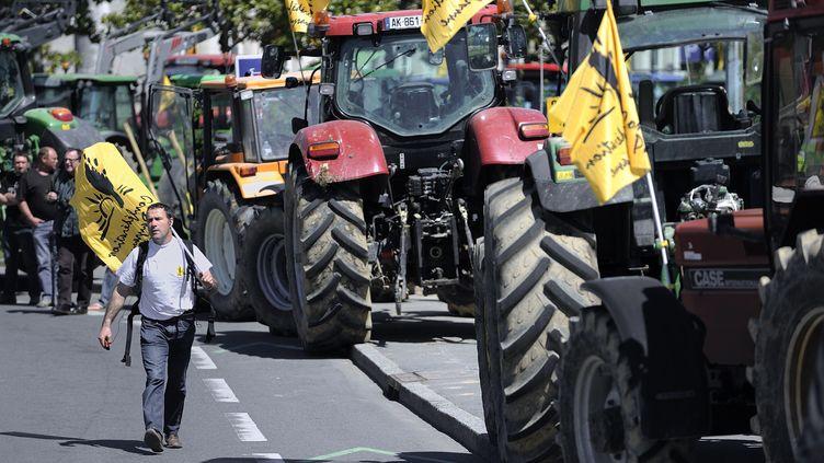 Près de 200 tracteurs protestent contre le futur aéroport de Notre-Dame-des-Landes, le 3 mai 2012 à Nantes (Loire-Atlantique). (JEAN-SEBASTIEN EVRARD / AFP)