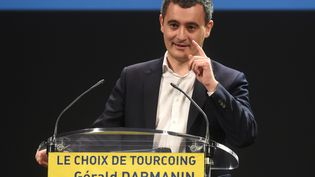 Gérald Darmanin, ministre de l'Action et des Comptes publics s'exprime lors d'un meeting politique, le 13 février à Tourcoing (Nord), où il est candicat à la mairie. (FRANCOIS LO PRESTI / AFP)