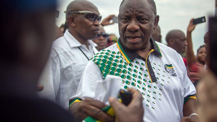 Le président du parti ANC, Cyril Ramaphosa, le 19 décembre 2017 à Johannesbourg (Afrique du Sud). (MUJAHID SAFODIEN / AFP)