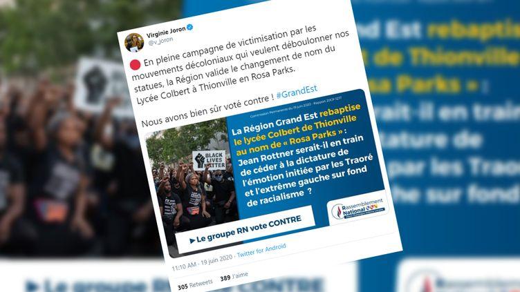 Un tweet du Rassemblement national après l'annonce du changement de nom du lycée Colbert. (CAPTURE ECRAN)