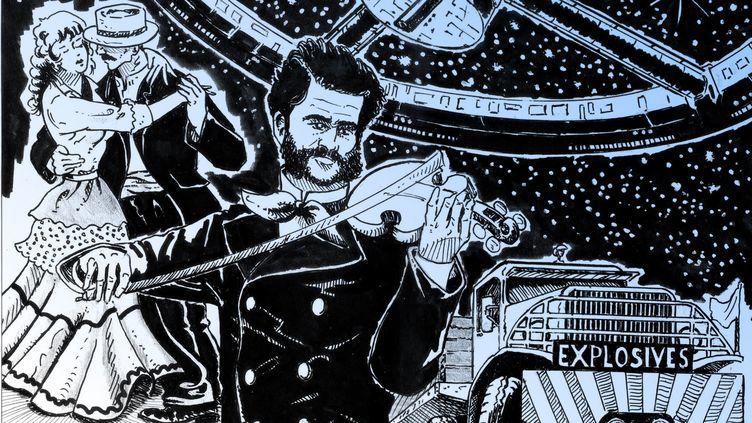 """Johann Strauss II vu par le dessinateur Denys Legros : """"Le beau Danube bleu""""figure dans de nombreux films, notamment """"2001, L'Odyssée de l'espace"""" et """"Le salaire de la peur"""" (DENYS LEGROS)"""
