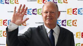 Rémy Pfimlin, alors président de France Télévisions, lors de la conférence de presse de rentrée du groupe, le 28 août 2012 à Paris. (PATRICK KOVARIK / AFP)