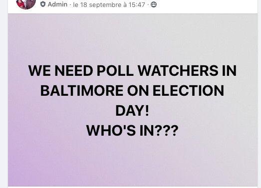 Un groupe de soutien à Donald Trump recherche des volontaires pour surveiller les bureaux de vote à Baltimore (Maryland), le jour de l'élection américaine, le 3 novembre 2020. (FACEBOOK)