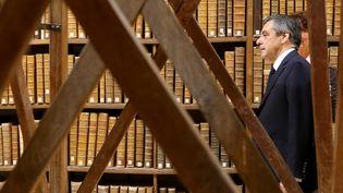 Le candidat LR à l'élection présidentielle, François Fillon, le 7 février 2017, lors d'une visite à Troyes, dans l'Aube. (FRANCOIS NASCIMBENI / AFP)