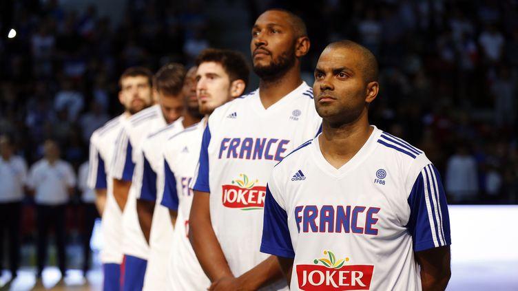 Tony Parker et Boris Diaw, chefs de file de l'équipe de France pour le TQO (CHARLY TRIBALLEAU / AFP)