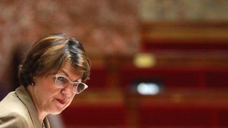 Annie Genevard, la députée Les Républicains du Doubs, vice-présidente de l'Assemblée nationale et présidente du Conseil national des Républicains, le 24 février 2020 dans l'Hémicycle. (LUDOVIC MARIN / AFP)