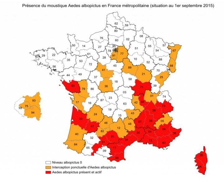 """La carte du """"moustique tigre"""" en France établie par le ministère de la Santé au 1er septembre 2015. (Ministère de la santé)"""