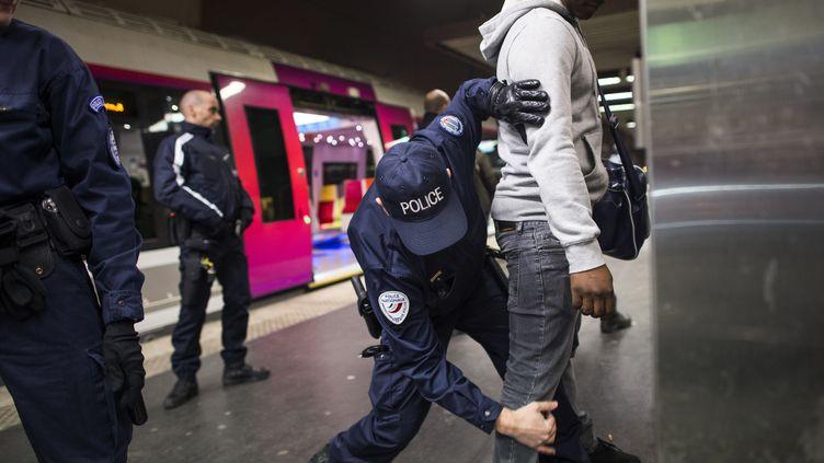 Un policier contrôle un individu à la gare du Nord à Paris, le 30 novembre 2012. (FRED DUFOUR / AFP)