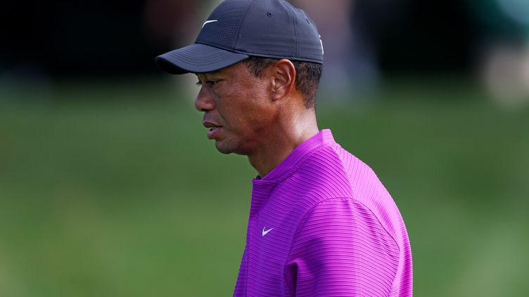Tiger Woods (ici lors du Masters d'Augusta, le 14 novembre 2020) était seul dans son véhicule. (ROB CARR / GETTY IMAGES NORTH AMERICA)