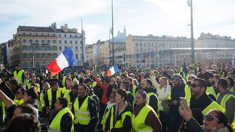 """Manifestation de """"gilets jaunes"""" à Marseille samedi 1er décembre. (CLEMENT MAHOUDEAU / AFP)"""