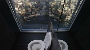 Des toilettes surplombant le distrcit financier de Londres (Royaume-Uni). (LUKE MACGREGOR / REUTERS)