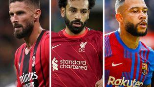 Olivier Giroud (Milan AC), Mohamed Salah (Liverpool) et Mepmphis Depay (FC Barcelone). (GIUSEPPE COTTINI / ANDREW YATES / XAVIER BONILLA)