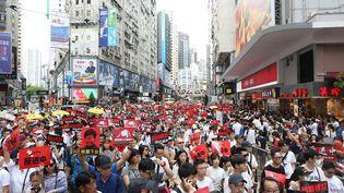 Plusieurs centaines de milliers de manifestants ont défilé dans les rues, dimanche 10 juin, pour protester contre un projet de loi autorisant les extraditions vers la Chine. (CHAN LONG HEI / SOPA IMAGES / SIPA)