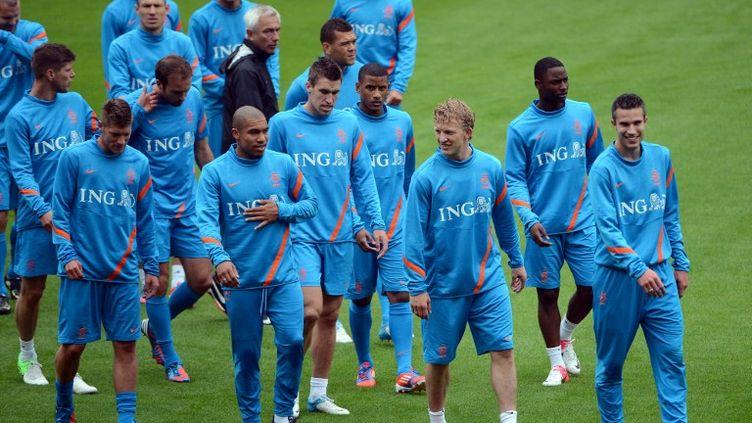 Des joueurs de l'équipe néerlandaise de football lors d'un entraînement à Cracovie, en Pologne, le 5 juin 2012. (ANNE-CHRISTINE POUJOULAT / AFP)