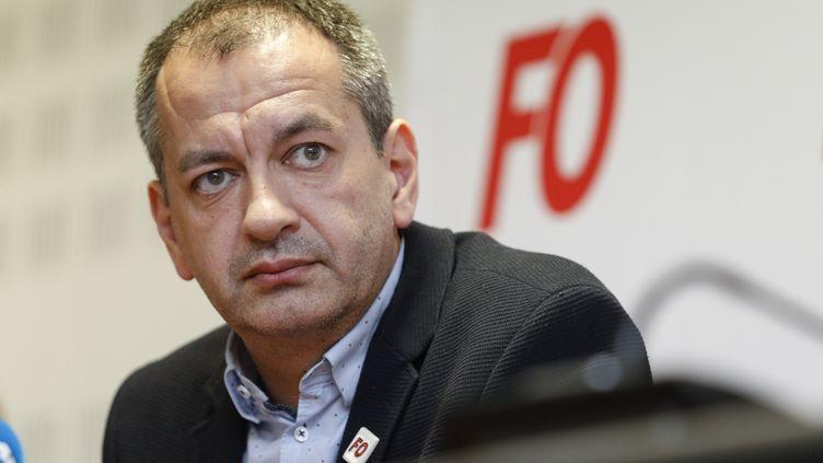 Pascal Pavageau, secrétaire général du syndicat Force ouvrière, le 1er mai à Paris. (GEOFFROY VAN DER HASSELT / AFP)