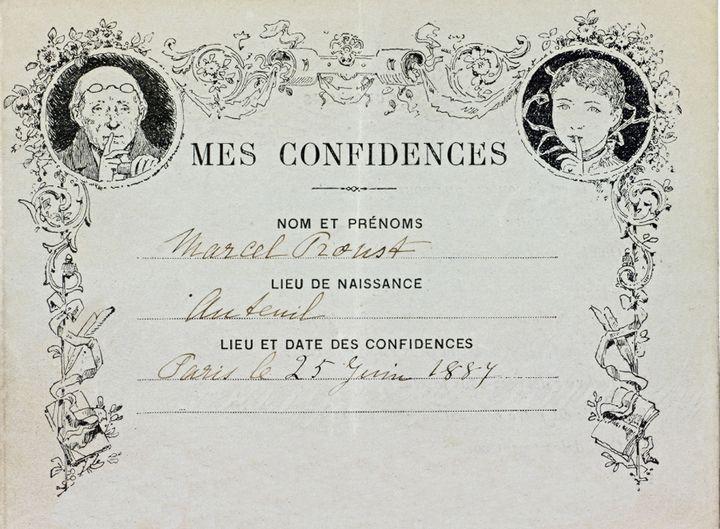 Le questionnaire rempli par Marcel Proust le 25 juin 1887  (Librairie Laurent Coulet à Paris)