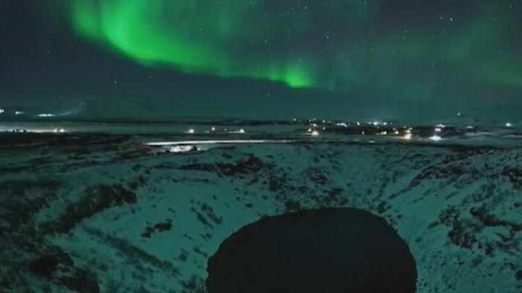 Capture écran de la vidéo de CNN sur les aurores boréales en Islande, le 8 mars 2017. (CNN)