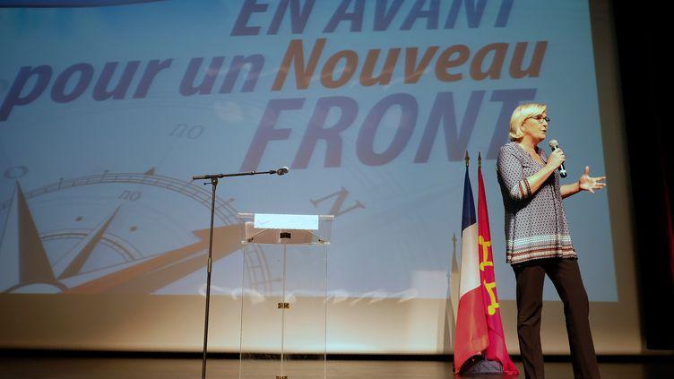 Marine Le Pen lors d'un meeting à Bruguières (Haute-Garonne), le 23 septembre 2017. (ERIC CABANIS / POOL)