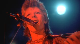 David Bowie sur scène en 1973 à Los Angeles (Californie, Etats-Unis), à l'époque de son personnage de Ziggy Stardust. (MICHAEL OCHS ARCHIVES / GETTY IMAGES)
