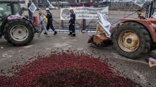La raffinerie de La Mède (Bouches-du-Rhône), bloquéepar des agriculteurs le 11 juin 2018. (MAXPPP)