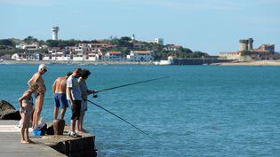 Le 17 octobre 2014, des pêcheurs profitent du soleil à Saint-Jean-de-Luz (Pyrénées-Atlantiques). (IROZ GAIZKA / AFP)