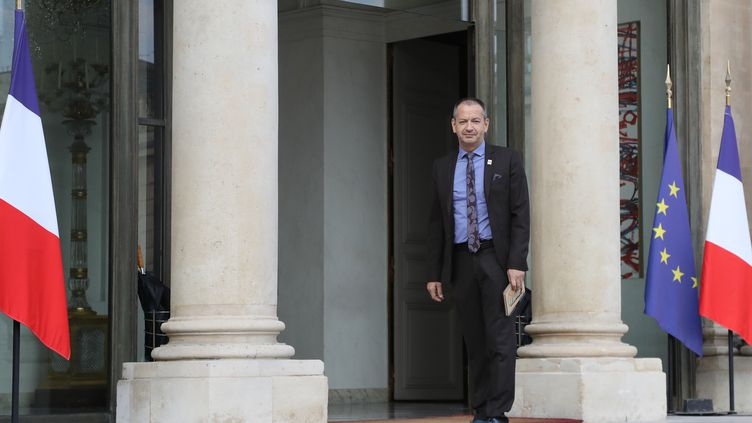 Le secretaire général du syndicat Force Ouvrière, Pascal Pavageau, a été reçu à l'Élysée le 17 juillet, lors d'une rencontre entre les principaux leaders syndicaux et Emmanuel Macron. (JACQUES DEMARTHON / AFP)