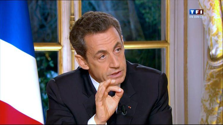 Nicolas Sarkozy lors de son interview télévisée, jeudi 27 octobre 2011. (AFP)