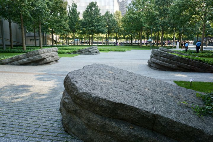 Le Memorial Glade, inauguré en 2019, est l'addition la plus récente au monument rendant hommage aux victimes des attentats du 11-Septembre. (MARIE-VIOLETTE BERNARD / FRANCEINFO)
