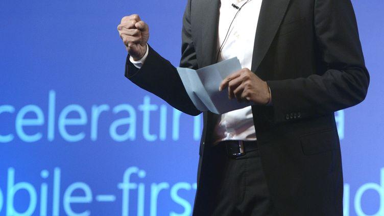 Le patron de Microsoft, Satya Nadella, lors d'une conférence de presse à New Delhi (Inde), le 1er octobre 2014. (PRAVEN NEGI / INDIA TODAY GROUP / AFP)