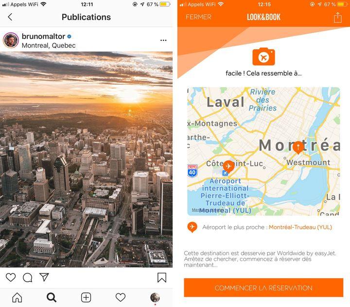 A gauche, unecapture d'écran d'une photo prise et partagée par le blogueur voyage Bruno Maltor sur son compte Instagram. A droite, le résultat de son analysepar l'outil Look&Book sur l'application EasyJet. (BRUNO MALTOR / EASYJET)
