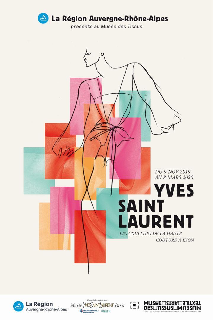 L'affiche de l'exposition Yves Saint Laurent au Musée des Tissus de Lyon (DR)