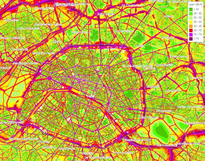 Une carte de Bruitparif montre la répartition des niveaux sonores à Paris. (BRUITPARIF)