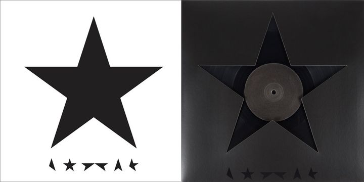 """Les pochettes de """"Blackstar"""" de David Bowie signées Jonathan Barnbrook (à droite, la version disque vinyle).  (DR)"""