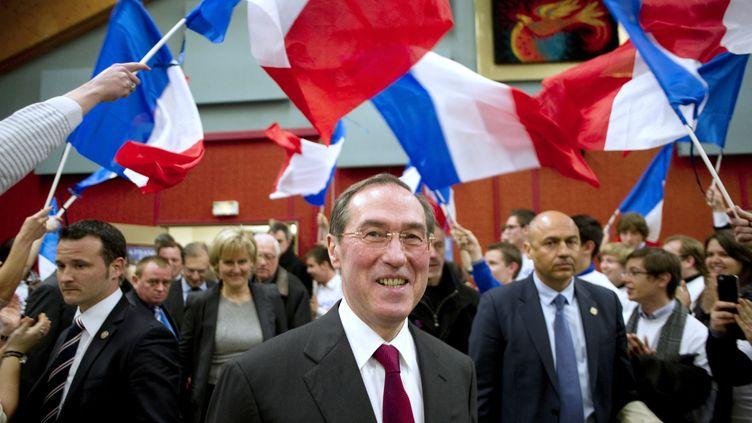 Le ministre de l'Intérieur, Claude Guéant, participe un meeting àVelaine-en-Haye (Meurthe-et-Moselle), près de Nancy, le 2 mars 2012. (SEBASTIEN BOZON / AFP)