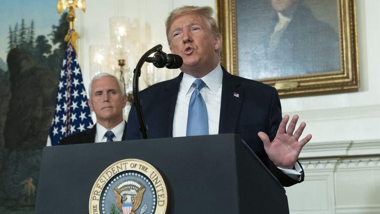Donald Trump lors de sa déclaration devant la presse à la Maison Blanche (Washington), le 5 août 2019, après les tueries dans le Texas et l'Ohio. (CHRIS KLEPONIS / CONSOLIDATED NEWS PHOTOS / AFP)