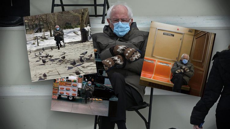 Sur les réseaux sociaux,de très nombreux montages reprenantune photo de Bernie Sanders sont apparus pendant la cérémonie d'investiture de Joe Biden, le 20 janvier 2021. (CAPTURE D'ECRAN TWITTER)