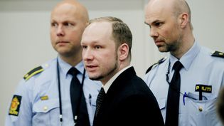 Anders Behring Breivik au tribunal d'Oslo (Norvège), le 19 avril 2012. (STIAN LYSBERG SOLUM / SCANPIX / REUTERS)