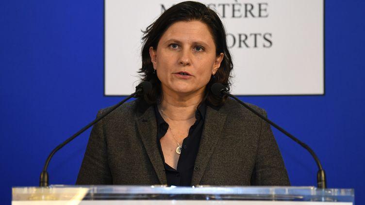 La ministre des Sports, Roxana Maracineanu, lors d'une conférence de presse à Paris, le 3 février 2020. (BERTRAND GUAY / AFP)