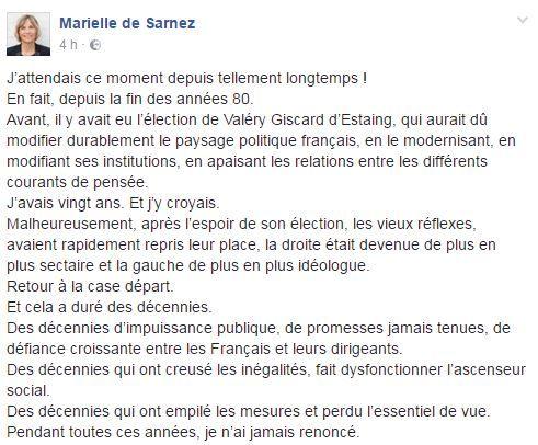Capture écran du compte Facebook de Marielle de Sarnez, le 24 juin 2017. (MARIELLE DE SARNEZ)