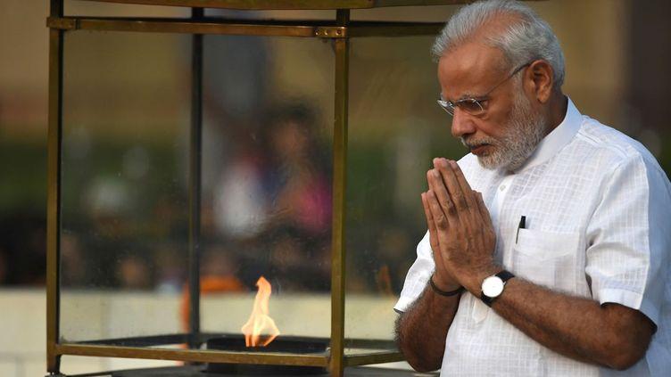 Le Premier ministre indien Narendra Modi célèbre le 147e anniversaire du Mahatma Ghandi et annonce la ratification de l'accord de Paris sur le climat, le 2 octobre 2016. (afp/Prakash Singh)