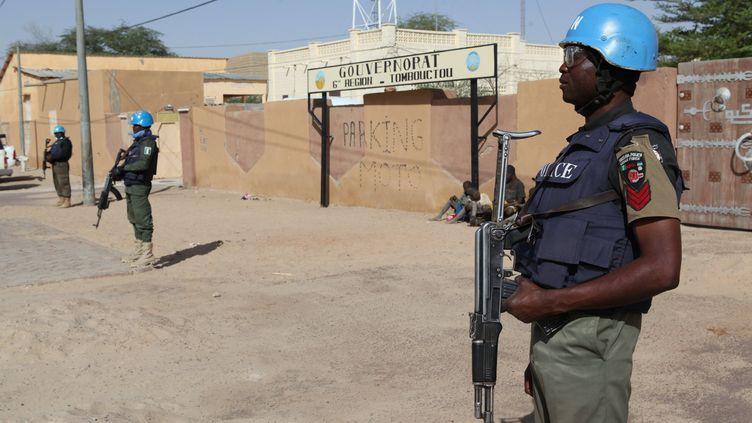 Des Casques bleus déployés à Tombouctou, le 4 février 2016 à Tombouctou (Mali). (SEBASTIEN RIEUSSEC / AFP)